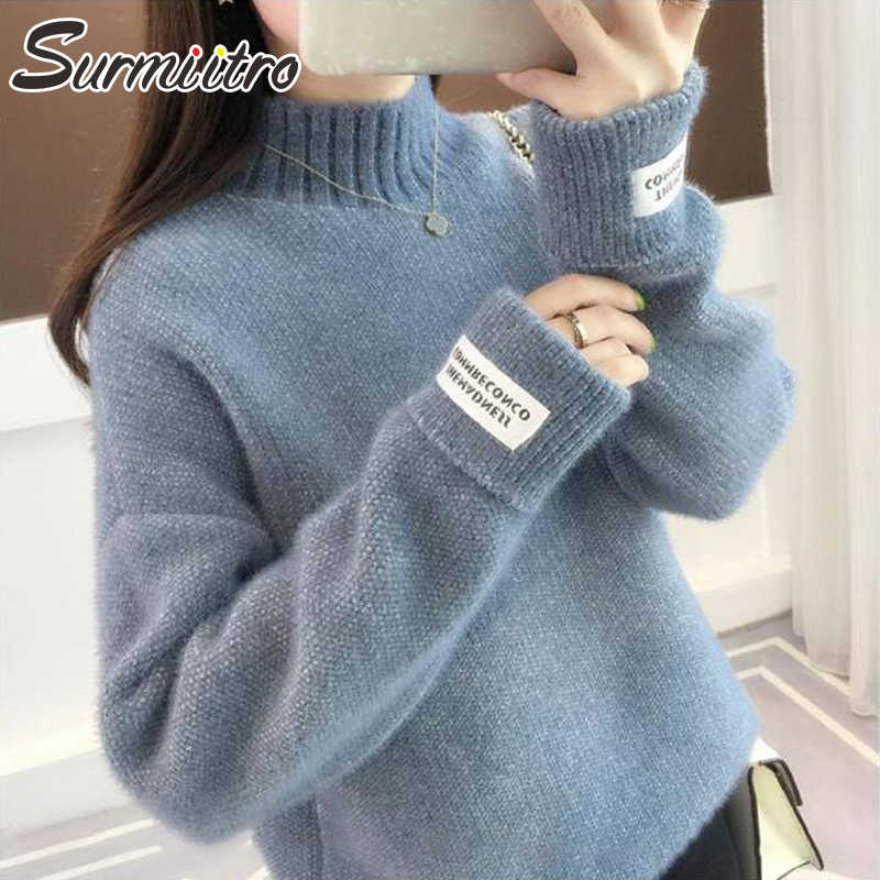 Surmiitro Mink Cashmere Knitted Sweater Women Turtleneck For Autumn Winter 2019 Long Sleeve Jumper Korean Ladies Pullover Female