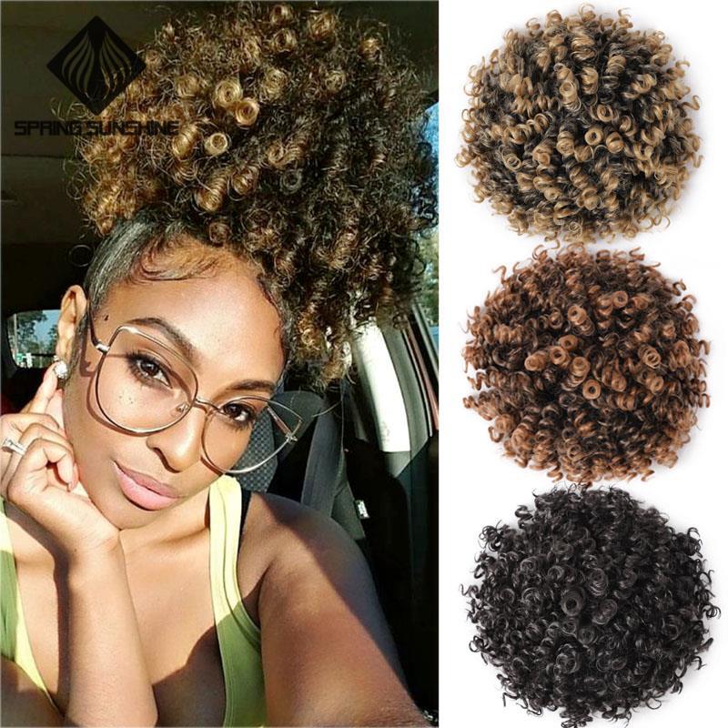 Афро кудрявый парик с высокой буфами, хвост с кулиской, короткий афро кудрявый хвост с зажимом, синтетический пучок волос с удлинителем для ...