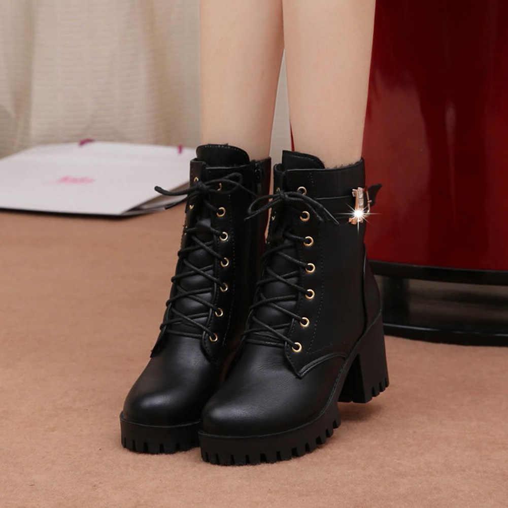 Женские ботильоны для женщин в британском стиле; женская обувь для отдыха; Модные женские ботинки на высоком квадратном каблуке и платформе; женская обувь черного цвета