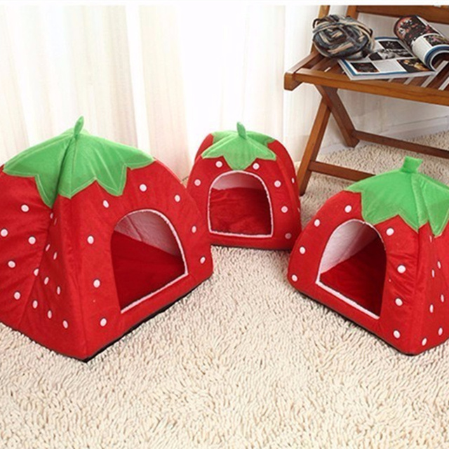 Creative Kennel Cat Nest Teddy dog Fruit Banana Strawberry Pineapple watermelon cotton bed warm pet Products Foldable Dog house 6
