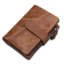 Luxury Vintage Casual Wallets Men Genuine Leather Short Bifold Wallet Real Cowhide Zipper Coin Purse RFID Card Holder