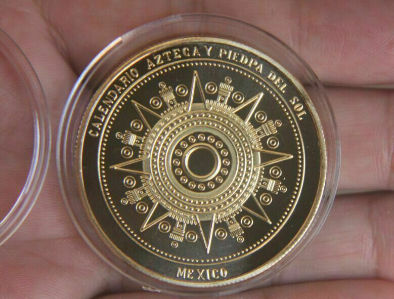 Maya Calendar Plated Coin Souvenir Mayan Aztec Badge Pin Mexico Gift Gold Color Vintage Collection