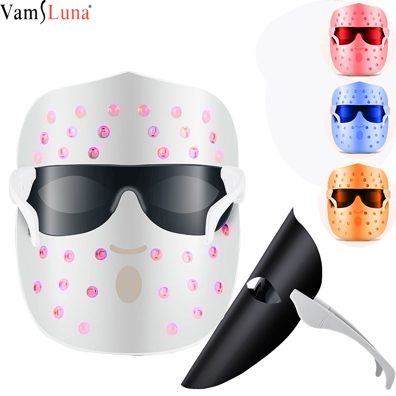 3 Color LED Mask, Photon Red Light Treatment for Healthy Skin Regeneration, Care Beauty, Collagen, Anti-Aging, Facial Skin Mask