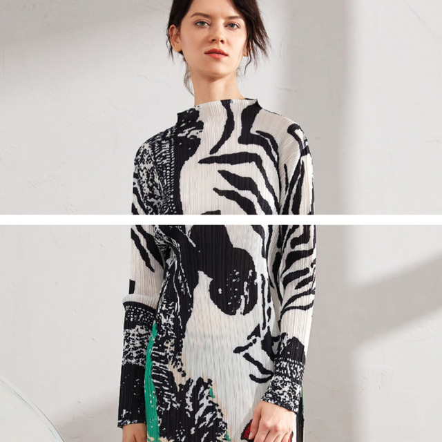 Zebra Pattern Hit Color Over Long Elegant Stand Collar stand out and up 6