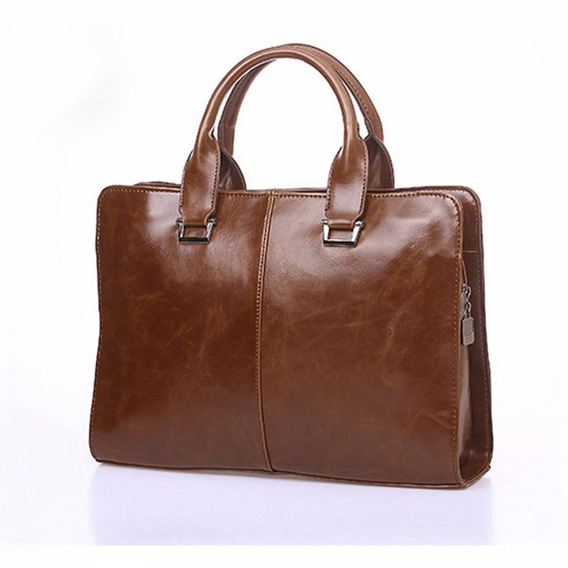 Fashion Men's Single Shoulder Bag Large Capacity Handbag Men's Travel Briefcase  PU Messenger Bag Computer Package