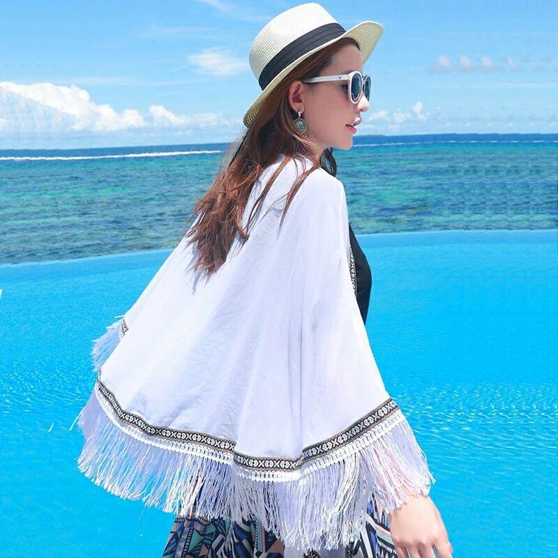 Flexible Sun-resistant Shawl Cycling Driving Beach Towel Gauze Kerchief Seaside Dual Purpose Silk Scarves Women's 2018 Summer Ne