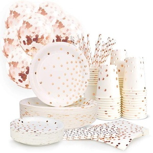 Party tableware rose gold balloon wedding decoration shower supplies disposable tablecloth paper plate birthday party decoration