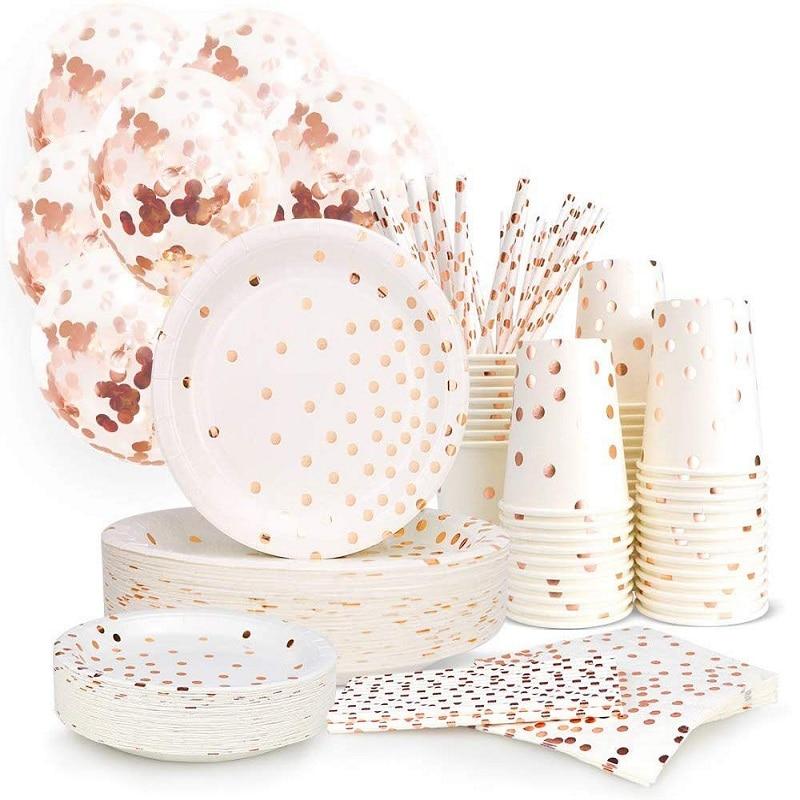 Вечерние посуда шар цвета розового золота ко Дню Святого Валентина свадебные украшения Baby Shower скатерть по производству бумажных тарелок дл...
