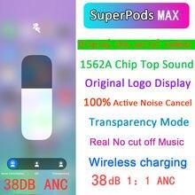 Superpods max fone de ouvido sem fio bluetooth 1:1 anc tampões de ouvido redução ruído ativo 12d super bass, bestpods max tws de áudio espacial