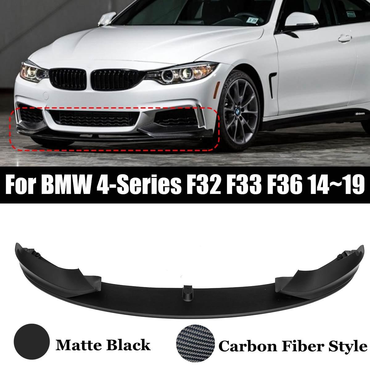 1PCS Auto Vorderen Stoßfänger Lip Spoiler Splitter Matte/Carbon Faser Stil Lip M Sport Stil Für BMW 4 -serie F32 F33 F36 2014 ~ 2019