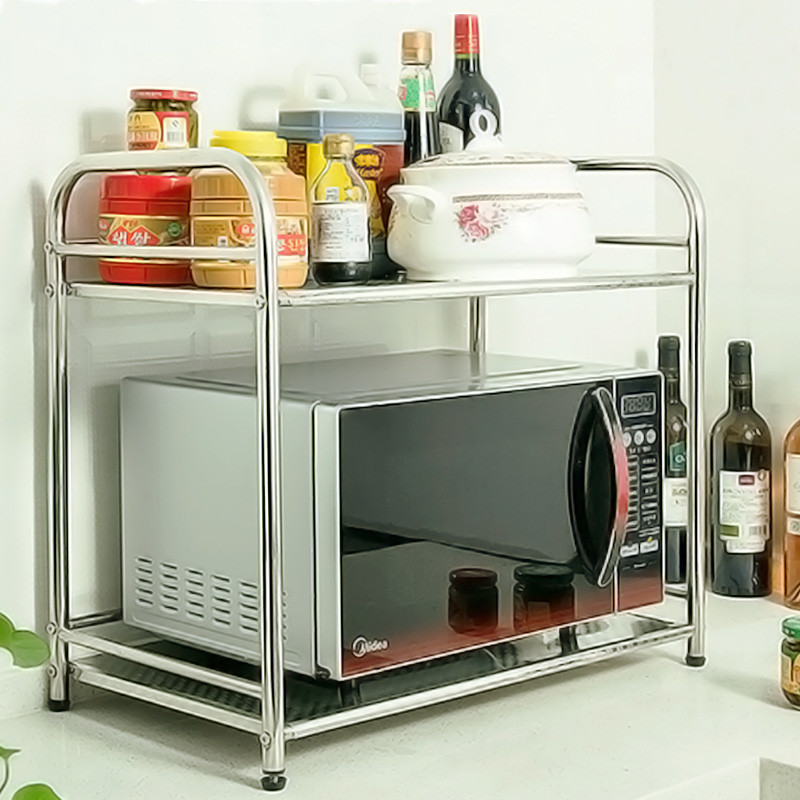 Étagère de cuisine en acier inoxydable | Étagère simple à Double pont pour four à micro-ondes, étagère pour four à 2 étages, stockage pour nécessités quotidiennes