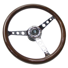 New 15 inch classic solid wood silver spokes modified steering wheel with base adapter car accessories Universal цены онлайн