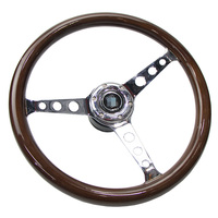 Universal 15 inch car steering wheel classic solid wood silver spokes modified racing steering with base adapter qiuck release