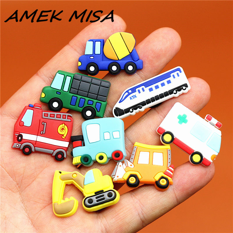 Single Sale 1pcs Shoe Charms Construction Vehicles And Trains Shoe Buckle Accessories Shoe Decorations Fit Croc JIBZ Kid's X-mas
