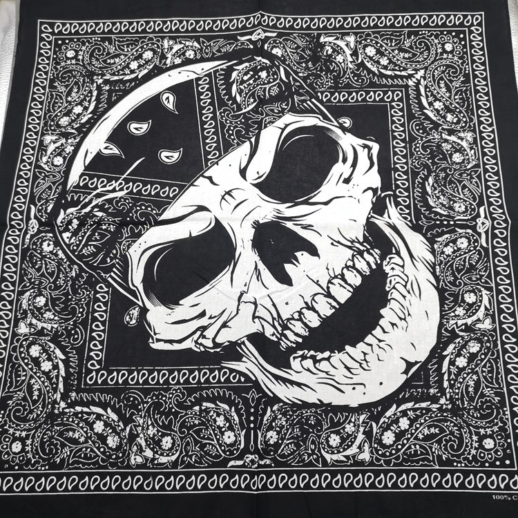 High Quality Headtie Square Scarf Unisex Bandana Hip Hop Black Paisley Skull Scarf Headwear Hair Band Scarf Neck Wrist Wrap Band