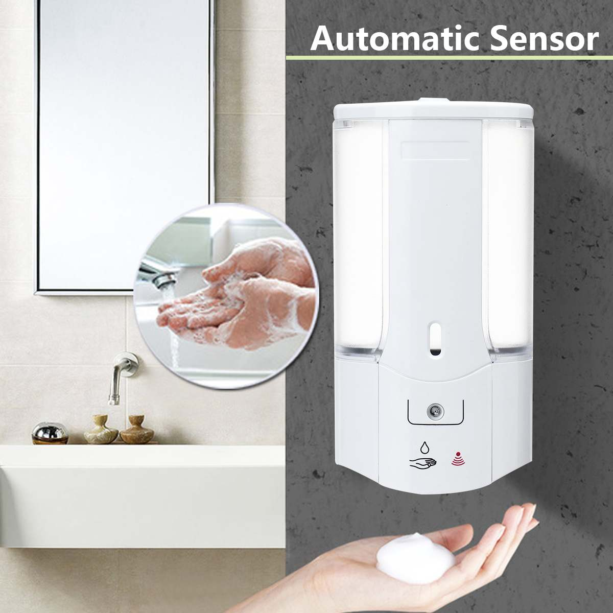 500mL Liquid Soap Dispenser Handfree Automatic Sensor Soap Dispenser Plastic Bathroom Shampoo Dispensers With Cover Wall Mounted