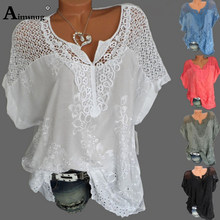 最大サイズ S-6XL 女性新夏中空固体トップスバットウィングスリーブ刺繍女性 Tシャツストリートルースレディース Tシャツ