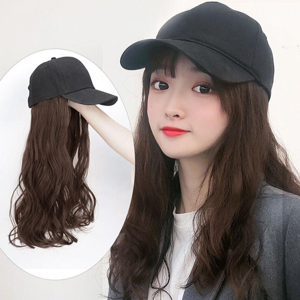 60cm One-piece Hair Extension Long Wavy Hairpiece With Adjustable Baseball Cap