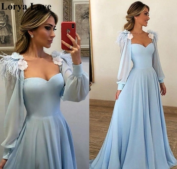 Light Blue Prom Dresses 2020 New Women Party Night Long Sleeves Chiffon Gowns For Wedding Elegant Robe De Soiree - discount item  30% OFF Special Occasion Dresses