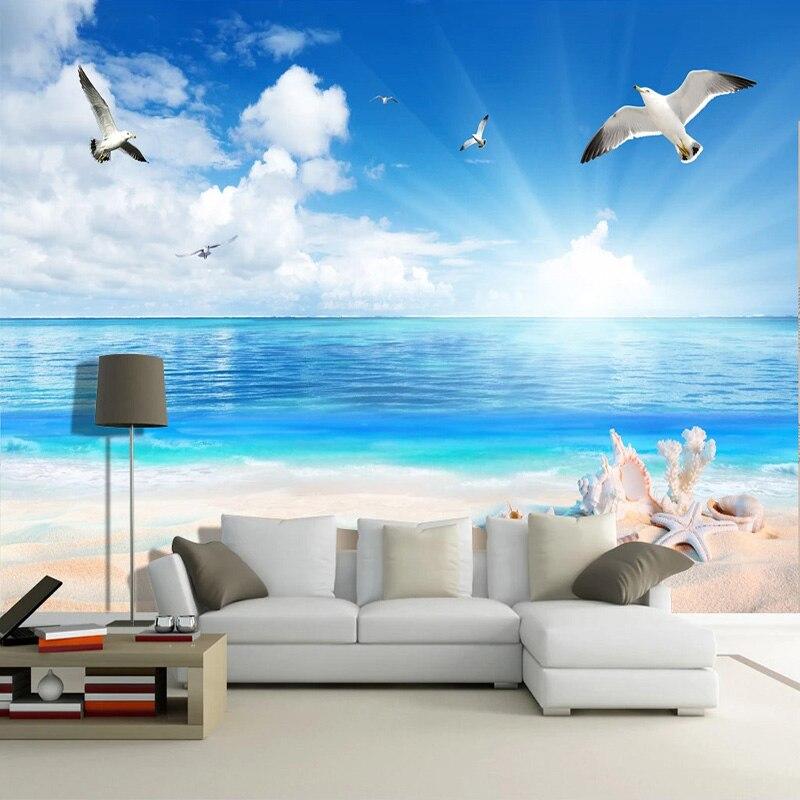 Photo Wallpaper 3D Beach Seashell Seascape Murals Living Room TV Sofa Dining Room Wall Paper For Walls 3D Papel De Parede Fresco