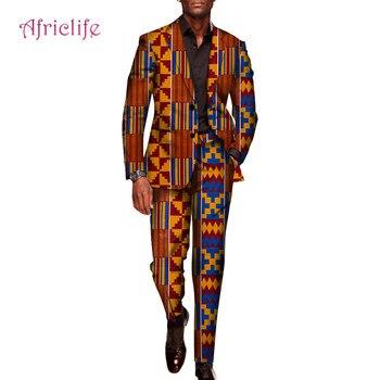 Мужские костюмы с блейзером и штанами на заказ; Одежда для свадебной вечеринки в Анкаре; Комплект из хлопкового топа и брюк с принтом в африк