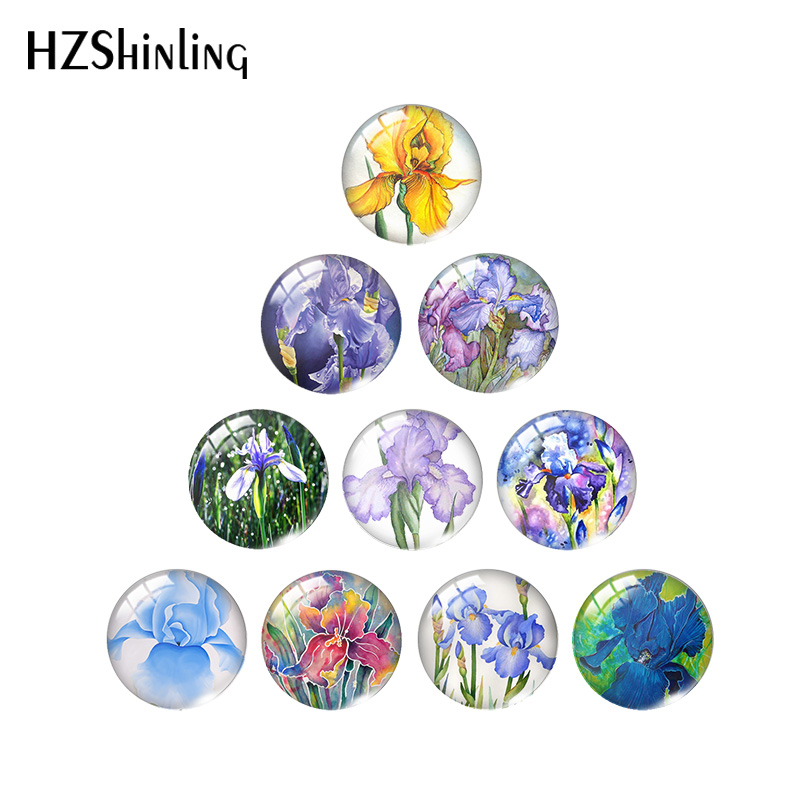 2020 New Blue Iris Patricia Photo Cabochons Flower Art Glass Cabochon Round Square Heart Tear Drop Oval Jewelry