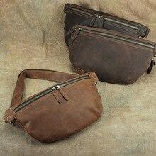Genuine Leather Casual Sling Chest Pack Men Crossbody Shoulder Hand Bag Mens Crazy Horse Messenger Fanny Waist Bum Mini