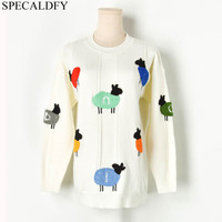 2019 Winter Sweater Women Long Sleeve Cute Cartoon Sheep Sweaters Female Knitted Pullover Jumper Pull Femme Sueter Mujer
