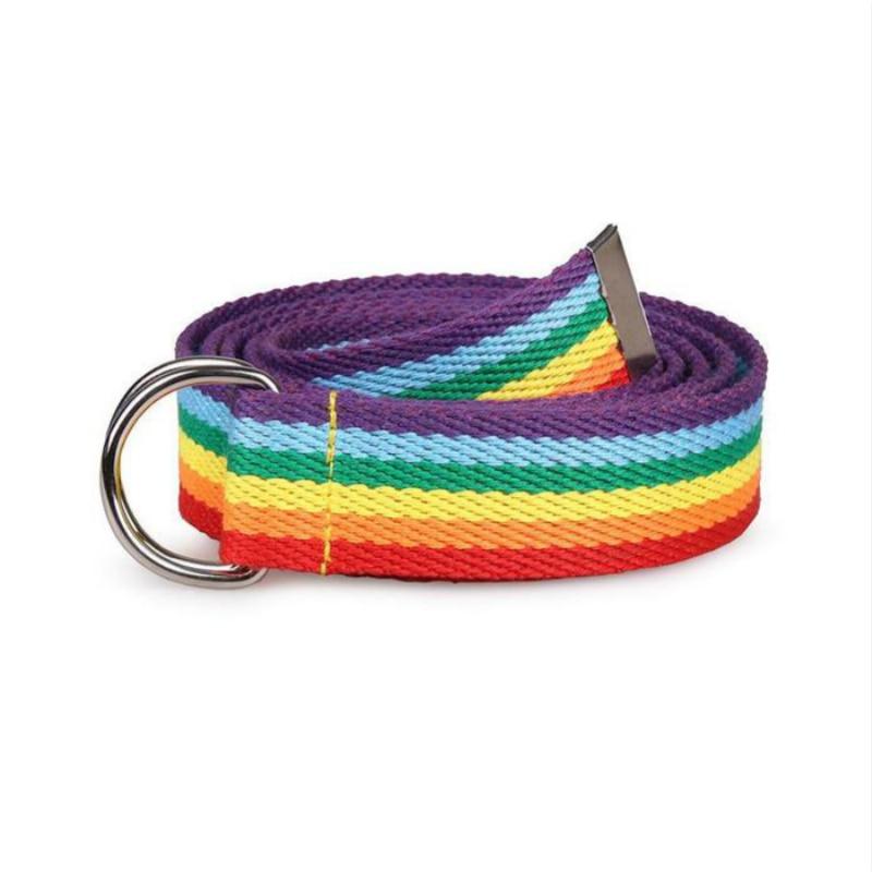 Hot Sale New Trendy Rainbow Colors Exquisite Waist Belt For Women Lady Pretty Canvas Thin Skinny Waist Belt Dress Accessory