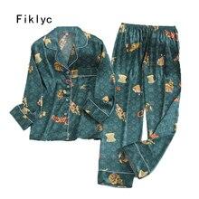 Fiklyc iç çamaşırı iki adet kadın bahar saten sahte ipek pijama setleri rahat gecelik ev giyim uzun kollu moda