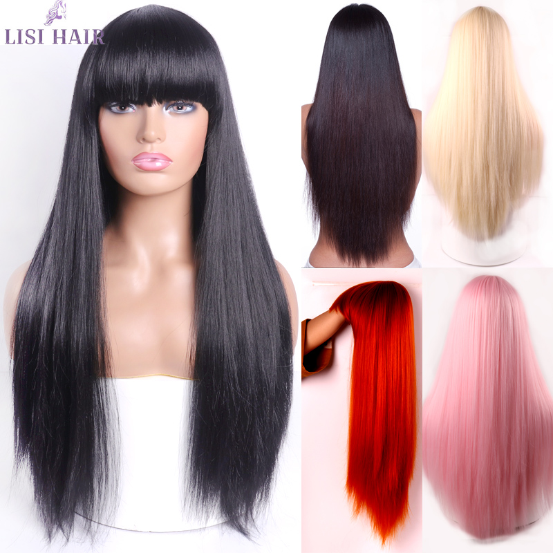 LISI HAIR Blonde Long Straight Wig With Bangs Synthetic Hair Wigs Bang With Wig For Woman Black Brown Heat Resistant Wigs
