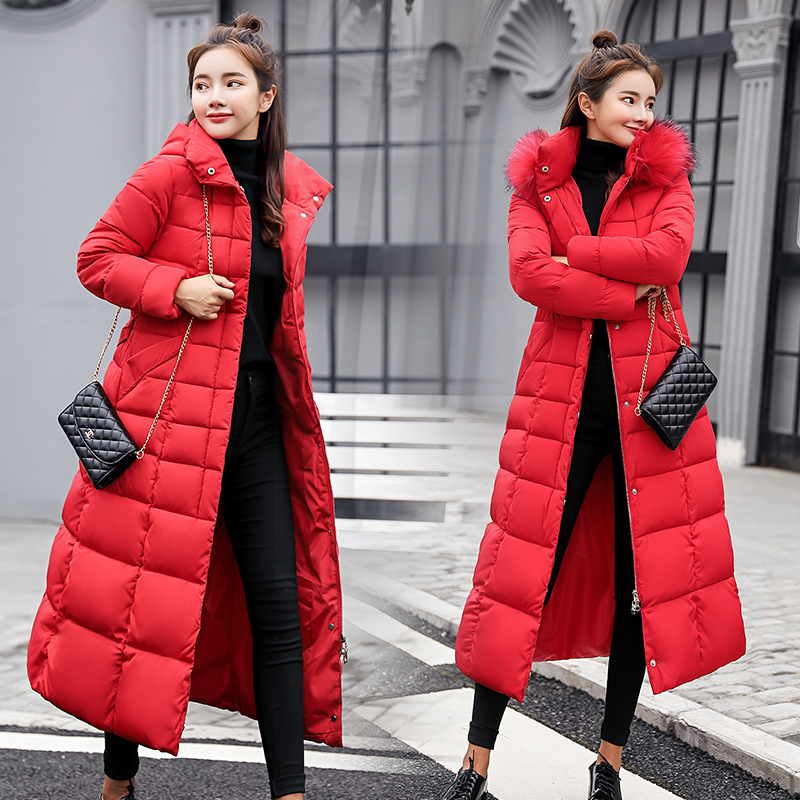 Winter New Style Cotton-padded Clothes Women's X-long over-the-Knee Korean-style Slim Fit Cotton-padded Jacket Coat Large Fur Co