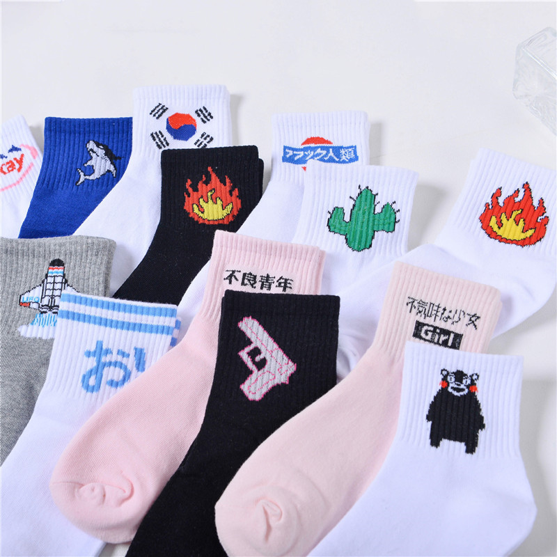 Summer Ladies Short Socks  Korea Japanese Cotton Flame Harajuku Socks Girl Cartoon Cactus Gun  Funny Female Socks Novelty Socks