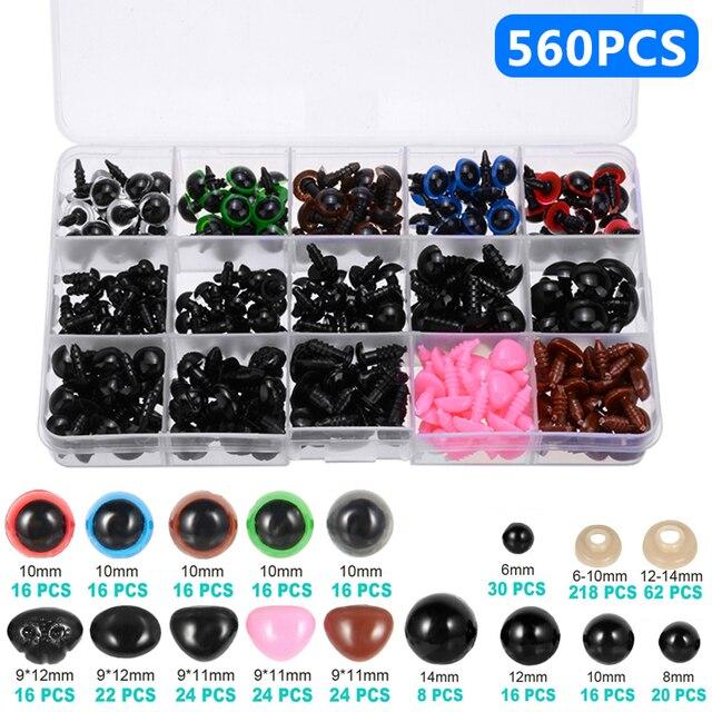 Craft Eyes Sets 560Pcs Plastic Colorful Safety Eyes