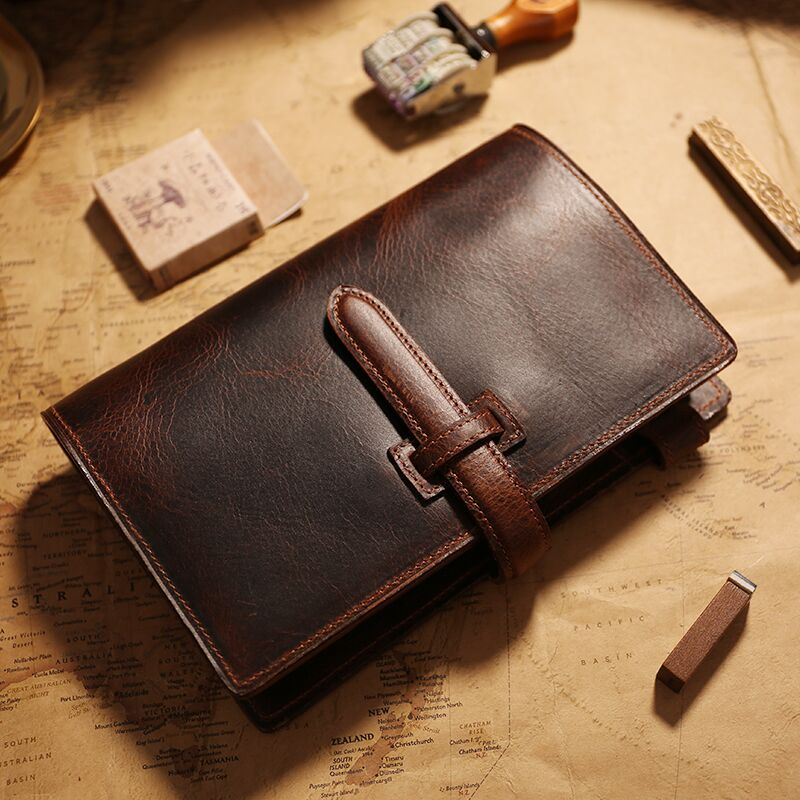 IPBEN 100% Genuine Vintage Leather Travelers Notebook Tie Diary Journal Handmade Cowhide gift travel notebook Free engrave