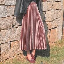 Юбка из золотого бархата; Новинка; сезон осень-зима; Женская юбка с высокой талией; длинная Плиссированная юбка средней длины с металлическими вставками; Повседневная маленькая юбка для танцев