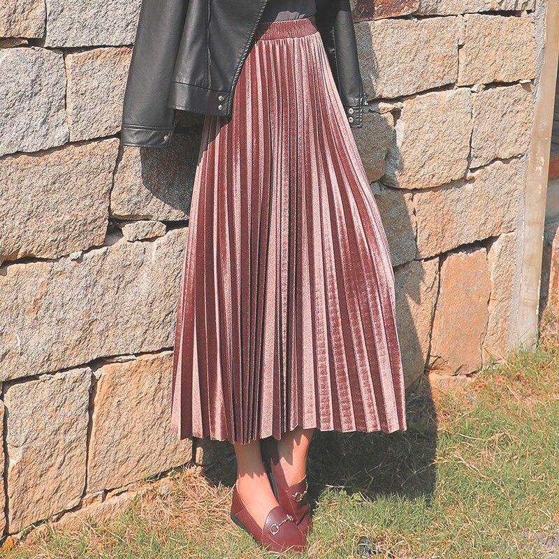 Skirt Gold Velvet New Autumn Winter Women High Waist Skirt Long Metallic Maxi Pleated Midi Skirt Casual Small Swing Dance Skirt