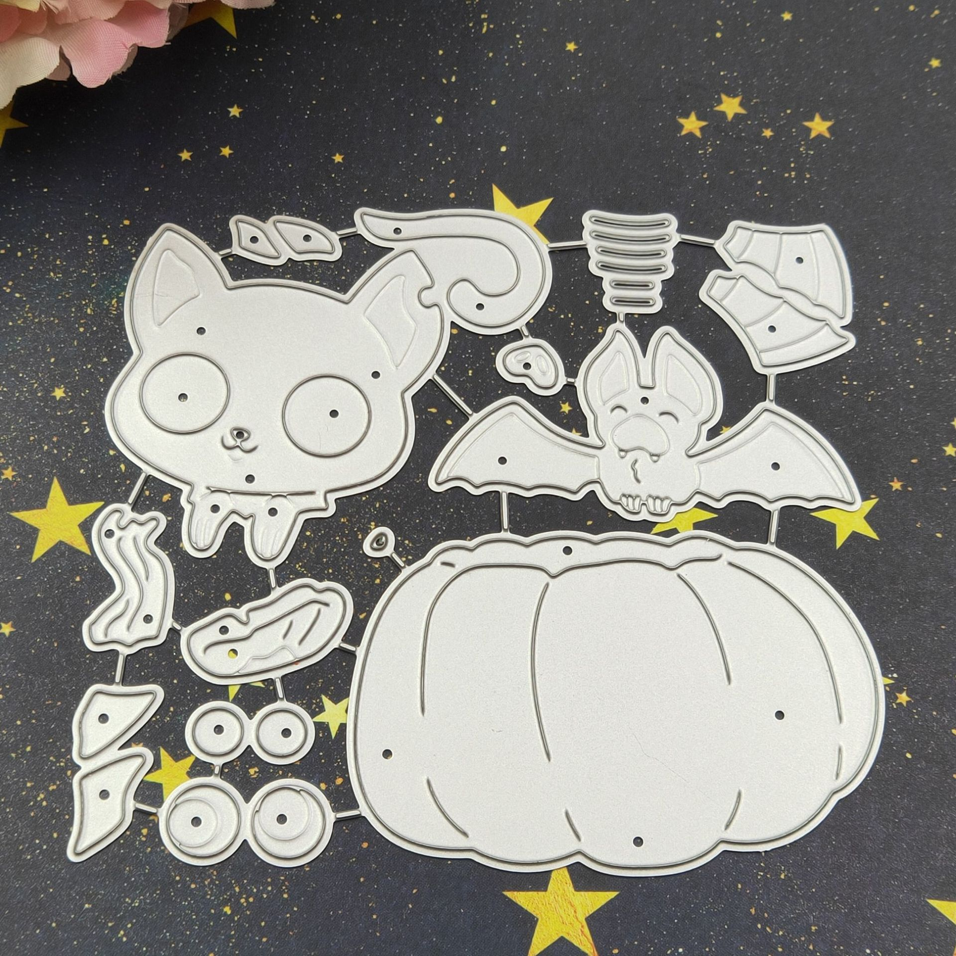 3-1804489 2.4 by 2.3 Inches Pumpkin Bat Metal Cutting Dies for Scrapbooking Card Making Christmas Valentines Day Die Cuts
