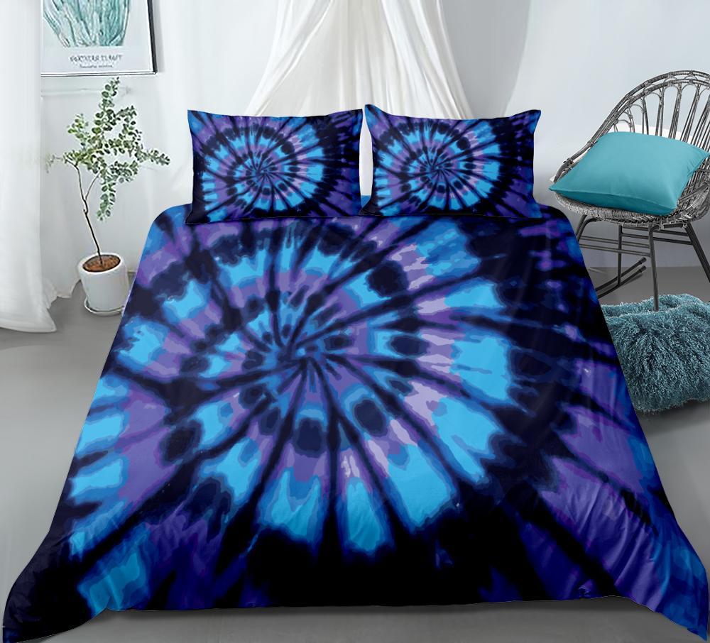 Blue purple Tie dyed Bedding Set Splashing Watercolor Duvet Cover Set Gift Art Bedclothes Home Textiles