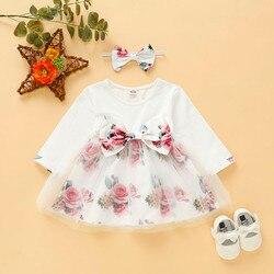 Moda vestido de bebê recém-nascido menina manga longa floral retalhos arco do cabelo faixa princesa vestido coreano roupas do bebê robe noel fillette