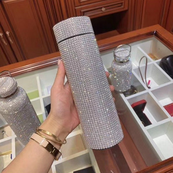 500ml Creative Diamond Thermos Bottle Water Bottle Stainless Steel Smart Temperature Display Vacuum Flask Mug Gift for Men Women smart cup intelligent water bottle 304 double layer stainless steel led display temperature 500ml