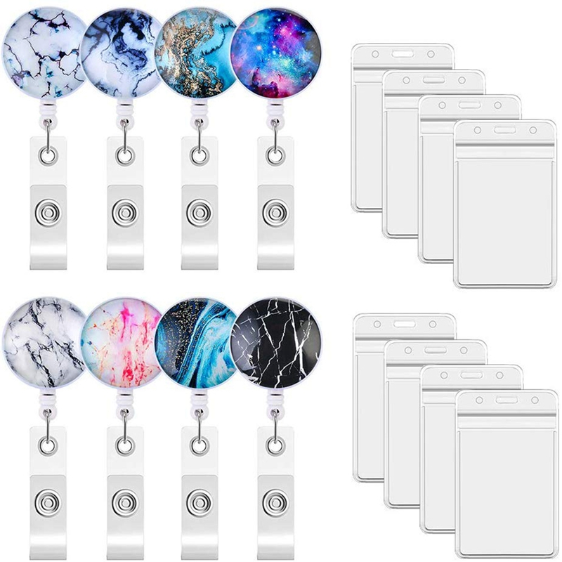8 Piece Nurse Badge Clip Retractable Badge Scroll Clip ID Protect Clip Badge Clip Easy To Use Marble Resistant Style For Office