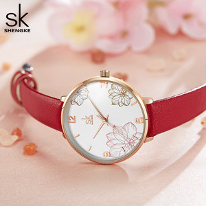 Image 3 - Shengke 2019 ผู้หญิงนาฬิกาสบายๆควอตซ์นาฬิกาสายหนังกันน้ำนาฬิกาข้อมือของขวัญ Zegarek Damski