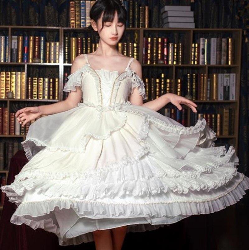 Elegant princess sweet lolita dress palace falbala lace high waist irregular kawaii dress kawaii girl gothic lolita jsk loli cos