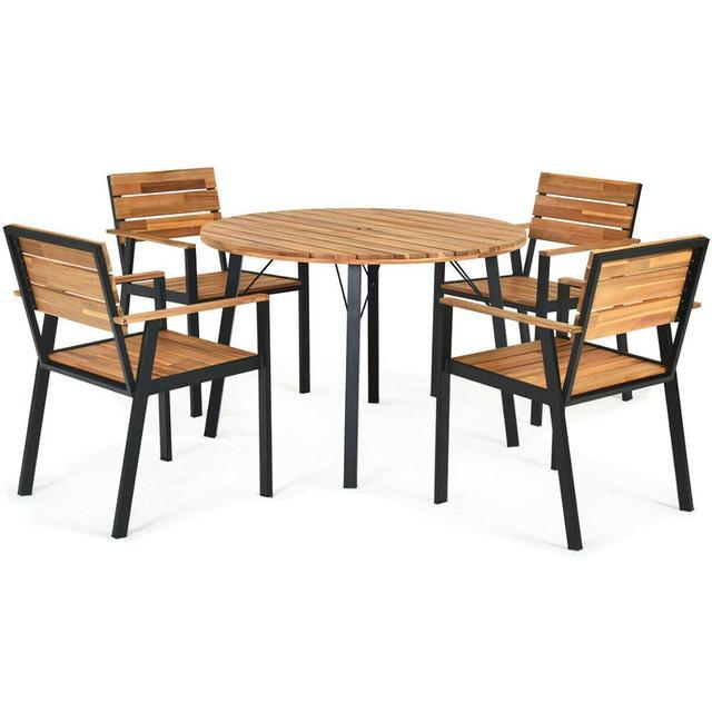 5PCS PatioRound Table w/Umbrella Hole  1