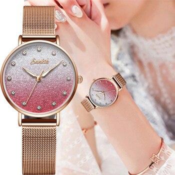 Japan Quartz Movement High Quality 30mm sunkta Martin Women Stainless Steel Mesh Rose Gold Waterproof Ladies Watch Dropshipping