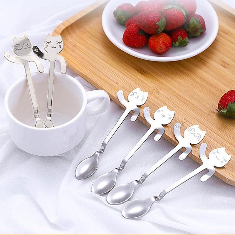 Creative Cartoon Coffee Spoon Cute Cat 304 Stainless Steel Coffee Scoop Cutlery Set Drinking Tea Spoons Flatware Cup Accessories