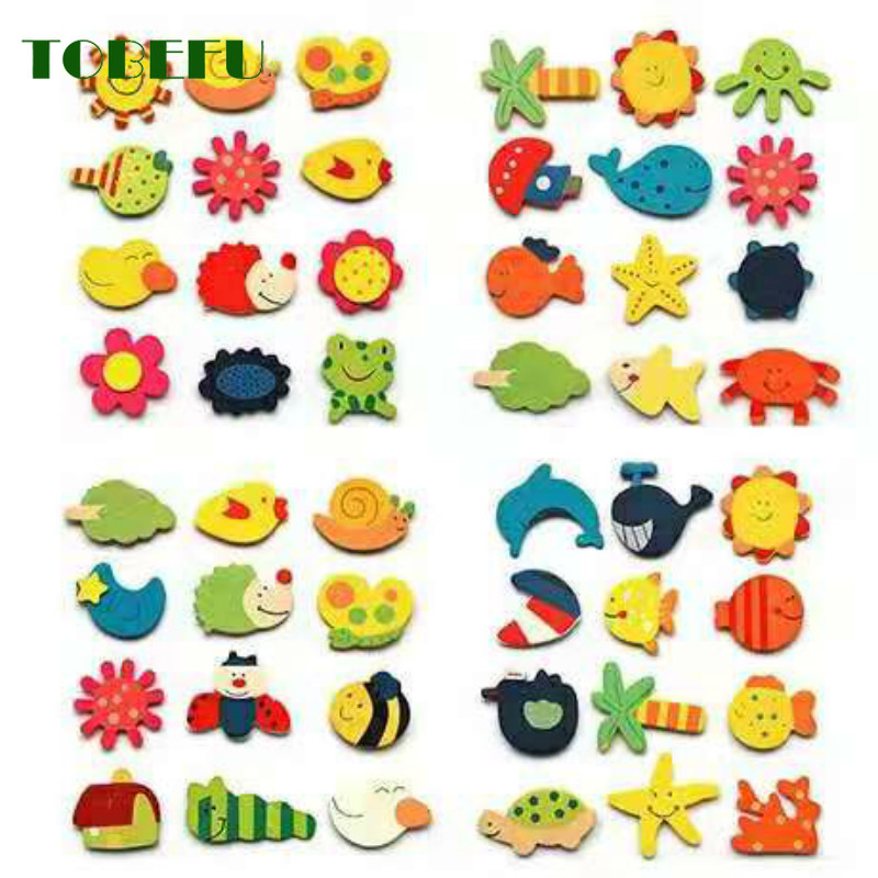 12pcs/lot Animal Cartoon Wooden Refrigerator Magnet Fridge Stickers Colorful Kids Toys For Children Baby Educational Kids Gift