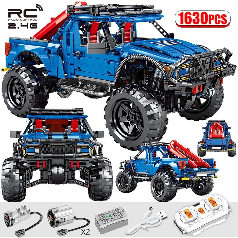 1630PCS City RC/non-RC Pickup Trucks Model Bricks Technic Remote Control Off-road Car Building Blocks Toys For Boys