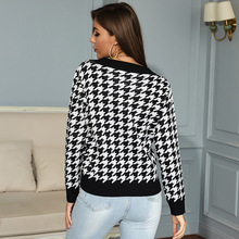 Autumn Winter Jersey Houndstooth Knitted Sweater Long Sleeve Sexy V-neck Pullover Sweaters for Women Top Loose Jumpers